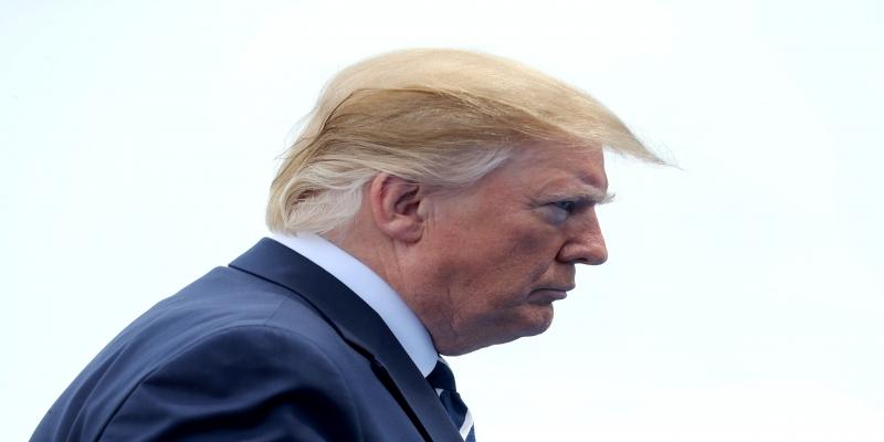 Presidente dos Estados Unidos, Donald Trump, durante cerimonia dos 75 anos do Dia D.
