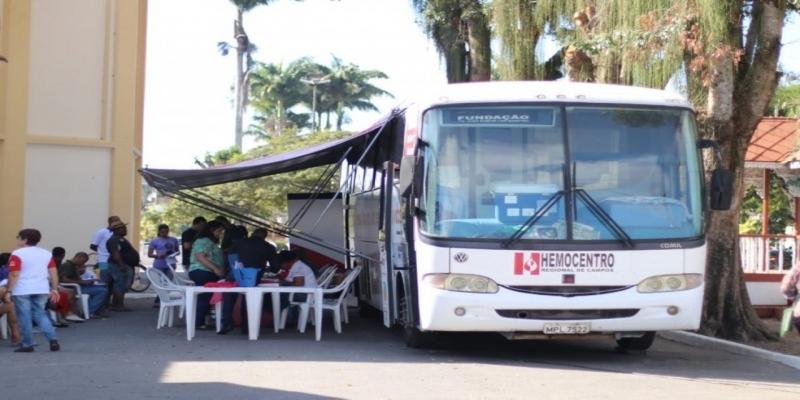 Unidade móvel do Hemocentro faz coleta de sangue em Quissamã, RJ, nesta terça feira (18) — Foto: Divulgação/Prefeitura de Quissamã